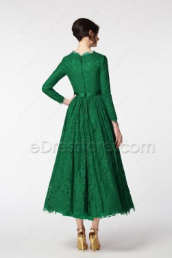 Emerald Green Modest Cocktail Dresses Ankle Length