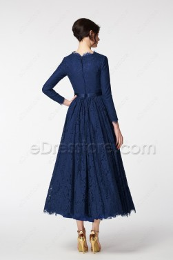 Vintage Modest Mother of the Bride Dress Long Sleeves Navy Blue Plus Size