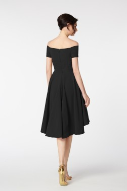 Off the Shoulder High Low Little Black Dresses Short Sleeves