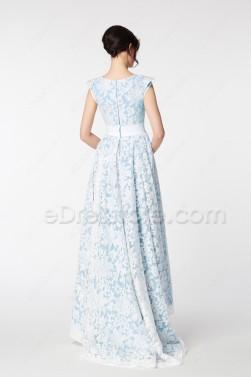 Light Blue Modest HIgh Low Pageant Evening Dresses