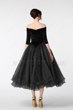 Black Vintage Evening Dresses Tea length with sleeves