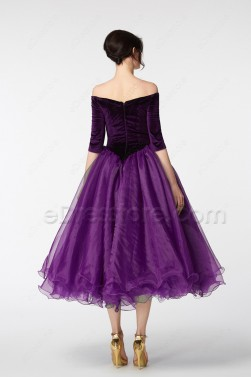 Purple Vintage Off the Shoulder Homecoming Dresses Tea Lenggth