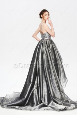 Halter Backless Beaded Silver High Low Prom Dress