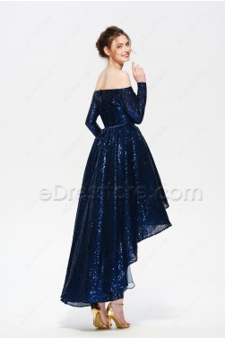 Sparkly Navy Blue Off the Shoulder High Low Prom Dresses Long Sleeves