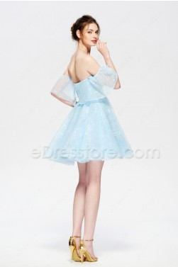 Light Blue Lace Homecoming Dresses Short Off the Shoulder