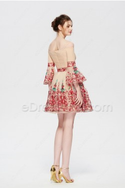 Champagne Boho Floral Short Prom Dresses with Sleeves