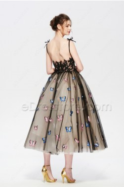 Black Champagne Vintage Ball Gown Prom Dress with Butterfly Embroidery