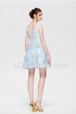 Light blue lace short prom dresses homecoming dresses