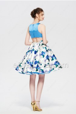 Floral Short Prom Dresses Cut Out Homecoming Dress