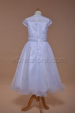 Cap Sleeves Modest First Communion Dress Tea Length