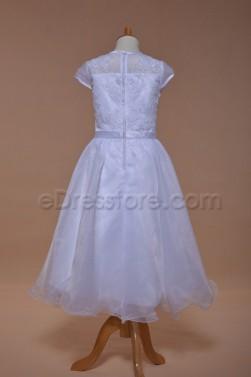 Cap Sleeves Modest First Communion Dress Tea Length
