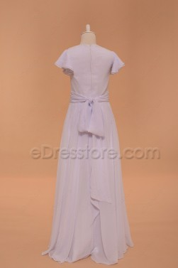 Modest Chiffon Holy Communion Dress Fllor Length Flower GIrl Dress with Sleeves