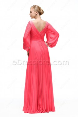 Long Sleeves Prom Dress Hot Pink