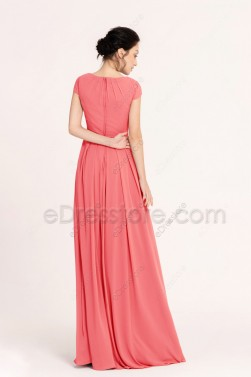 Coral Modest Prom Dresses Cap Sleeves