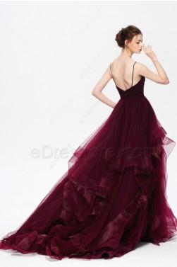 Dark Burgundy Spaghetti Straps Pageant Prom Dresses Layered