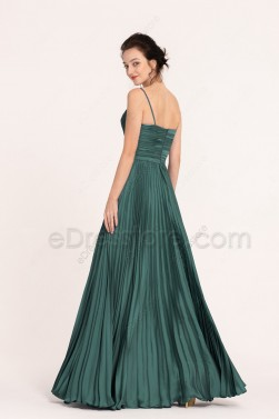 Dark Green Long Prom Dresses Spaghetti Straps