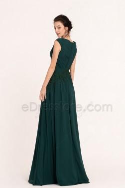 Dark Green Modest Bridesmaid Dresses Cowl Neck