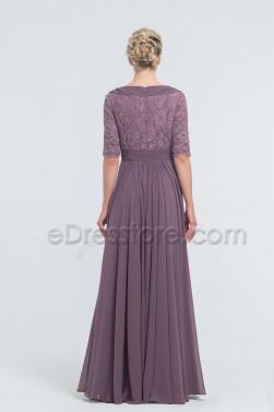 Dark Mauve Modest Lace Bridesmaid Dresses Elbow Sleeves
