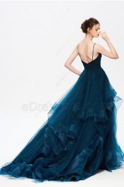 Dark Teal Long Prom Dresses Spaghetti Straps V Neck