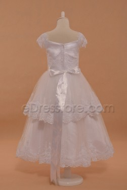 Lace White Girl's First Communion Dress Tea Length