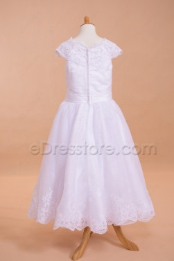 Modest Lace Tea Length First Communion Dresses Cap Sleeves