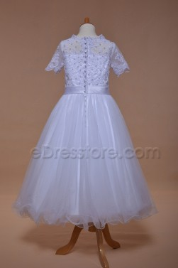 Modest Beaded Lace First Communion Dress Tea Length