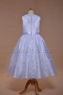 White Ball Gown First Communion Dress Tea Length