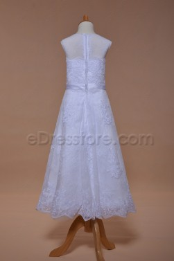 Elegant Lace A Line Holy Communion Dress Tea Length