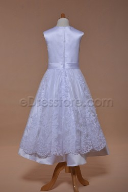 Sleeveless Lace Girl's First Communion Dress Tea Length