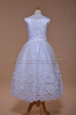 White Lace Ballgown First Communion Dresses