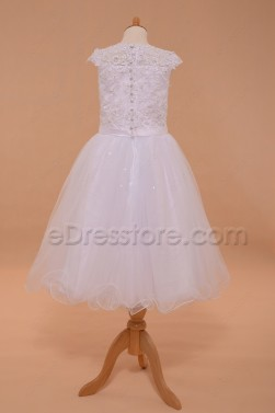 Modest White Holy Communion Dress Cap Sleeves