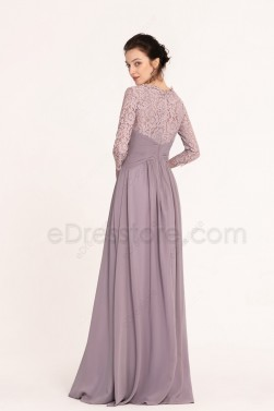 Dusk color Modest Bridesmaid Dresses Three Quarter Sleeves