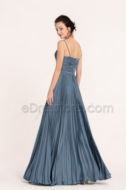Slate Blue Pleated Long Prom Dresses Spaghetti Straps
