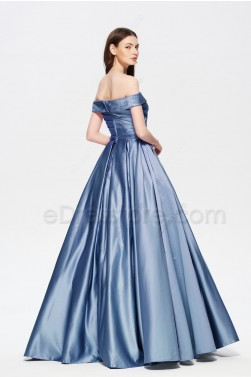 Dusty Blue Vintage Satin Bridesmaid Dresses wth Pockets