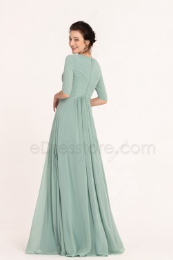 Dusty Green Modest Bridesmaid Dresses Elbow Sleeves