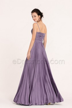 Dusty Lavender Spaghetti Straps Pleating Bridesmaid Dresses Long