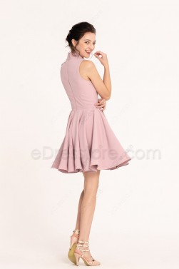 Dusty rose high neck modest short bridesmaid dresses cocktail