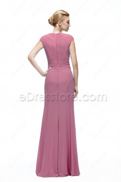 Mermaid Modest Dusty Rose Formal Dresses for Wedding