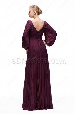 Eggplant Modest Formal Dress Long Sleeves Plus Size