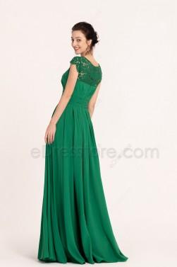 Emerald Green Modest Long Bridesmaid Dresses Cap Sleeves
