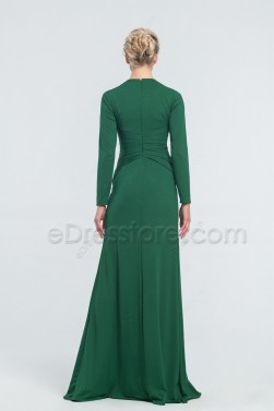 Emerald Modest Stretchy Prom Dresses Long Sleeves