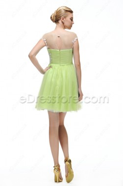 Cap Sleeves Green Cocktail Dresses Short