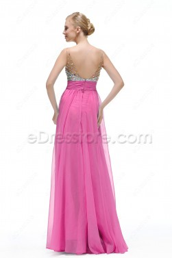 Sparkle Crystal Hot Pink Formal Dresses Long