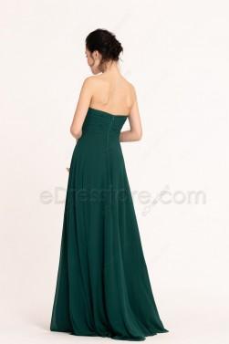 Hunter Green Sweetheart Bridesmaid Dresses Long