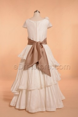 Ivory Pleating Tiered First Communion Dress with Sleeves Flower Girl Dress