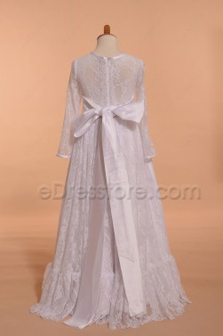 Lace Boho First Communion Dresses with Long Sleeves