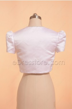White First Communion Bolero Jacket with Hand Beadings