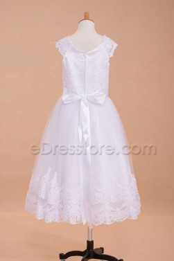 White Lace Ball Gown First Holy Communion Dresses Tea Length