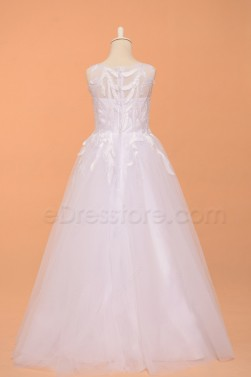 Beaded White First Communion Dresses Floor Length