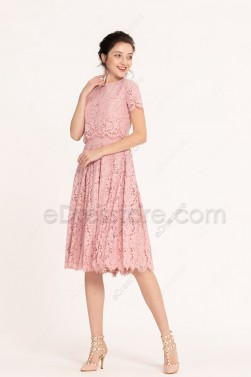 Lace Dusty Pink Modest Midi Bridesmaid Dresses Short Sleeves